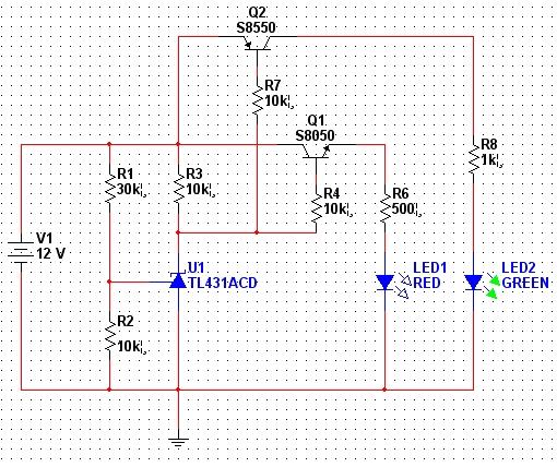 用TL431设计一个电压指示电路。 功能描述:输入电压低于10V时,红灯亮;高于10V时,绿灯亮。 设计电路图如下:  经过mlutisim10电路仿真,功能完全可以实现,但是实际制作电路却出现了问题:红色LED能正常工作,但是绿色有点问题。当高于10V时,绿灯能够正常发光,低于10V时,本应该熄灭,仍然有一点亮度,而且在10V左右调整输入电压,绿灯有个明显的亮度变化过程。当电压大概在6V时,绿灯彻底熄灭。 分析原因:红灯功能正常,说明NPN的8050能够彻底的开通和关断。绿灯亮度变暗时,可能是PNP的8