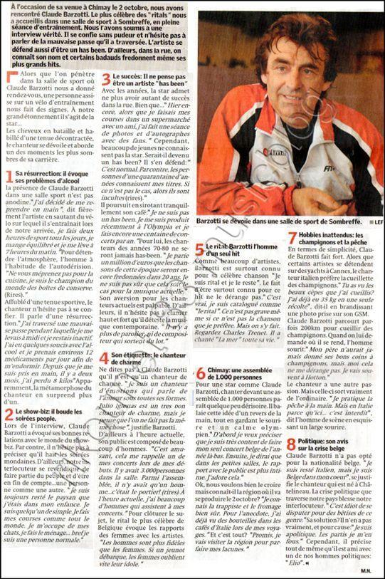 Blog de barzotti83 : Je ne sais plus comment te dire je ne trouve plus les mots ..Alors PARLE-MOI..(paroles de J.Kaplan), Article de presse La Gazette du lundi 20 septembre 2010