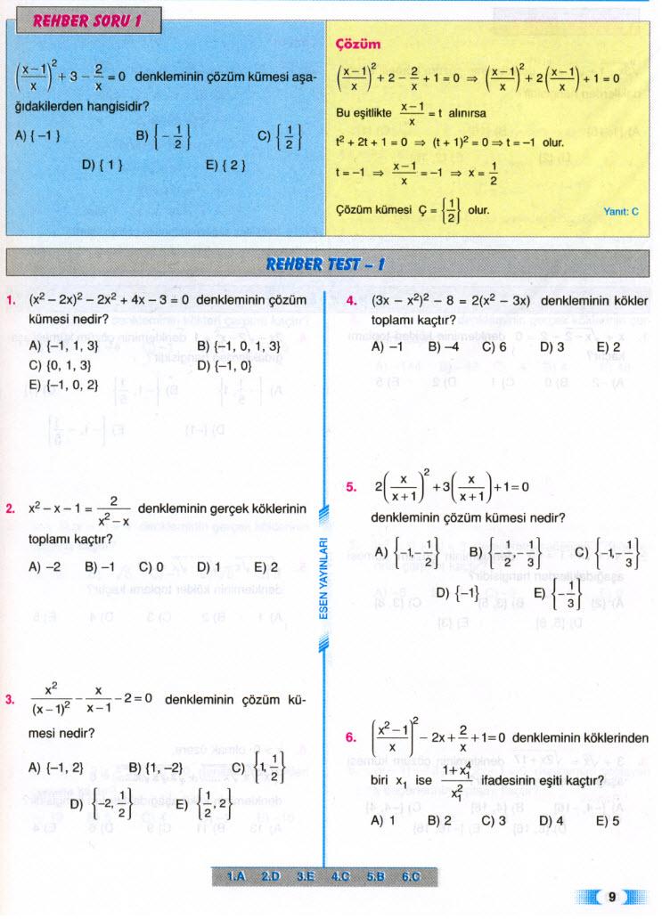 çözüldü Esen Lys Matematik Iidereceden Denklemler Rehber Test