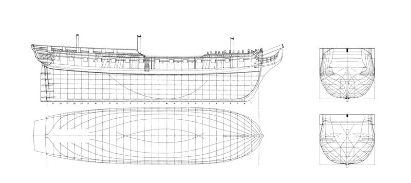 Hms diana fregata inglese da 38 cannoni for Proiettato in piani porticato gratis