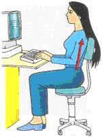 الجلوس الصحيح على كرسي الكمبيوتر