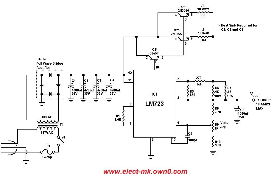 ... output voltage 13 8 volts output current 10 amp circuit diagram